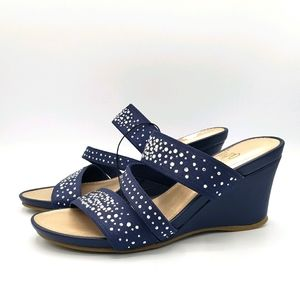 Impo verly blue jeweled strappy sandal wedge shoes